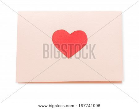Valentine day love letter isolated on white background. Envelope from craft paper with red heart. Lover's holiday confession or proposal concept