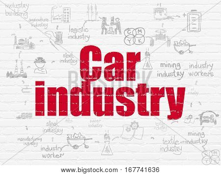 Industry concept: Painted red text Car Industry on White Brick wall background with Scheme Of Hand Drawn Industry Icons