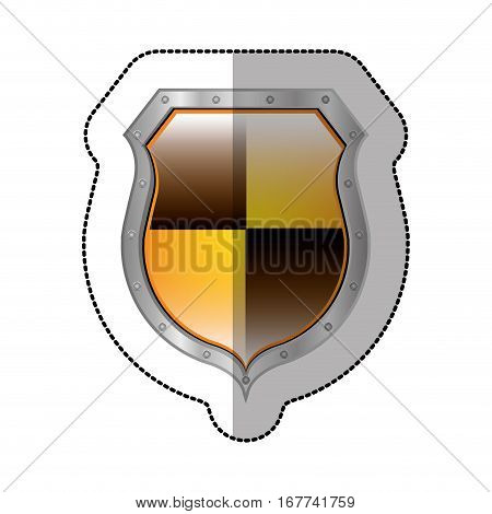 sticker metallic perforated shield with colorful rhombus shape vector illustration