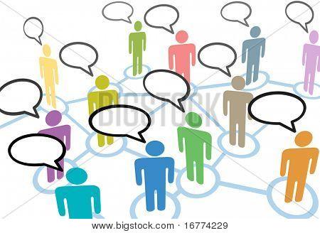 Eine Gruppe von verschiedenen Personen sprechen in den sozialen Medien Rede-Kommunikation-Netzwerk-Verbindungen