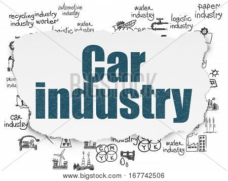 Manufacuring concept: Painted blue text Car Industry on Torn Paper background with  Hand Drawn Industry Icons