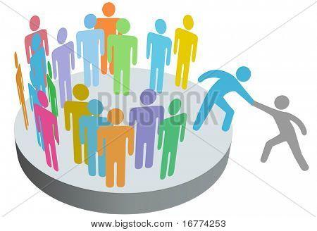 ein Freund hilft eine Person, eine Firma-Club-Team oder andere Gruppe beitreten.