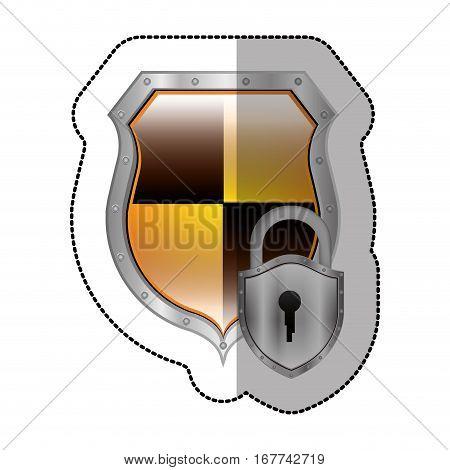 sticker metallic emblem with colorful rhombus shape with padlock vector illustration