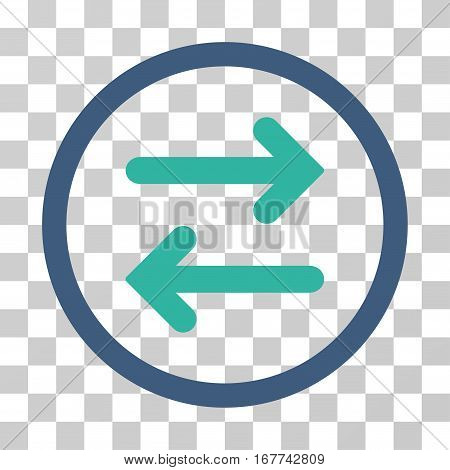 Flip Horizontal rounded icon. Vector illustration style is flat iconic bicolor symbol inside a circle, cobalt and cyan colors, transparent background. Designed for web and software interfaces.