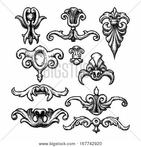 Baroque and renaissance set of vintage ornament elements for design. Filigree calligraphy vector illustration in ink hand drawn style.