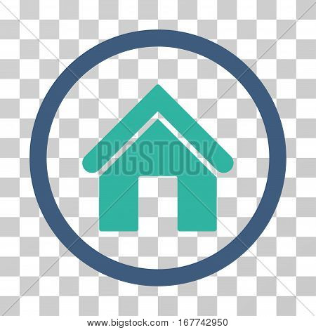 Home rounded icon. Vector illustration style is flat iconic bicolor symbol inside a circle, cobalt and cyan colors, transparent background. Designed for web and software interfaces.