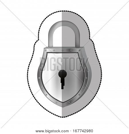 sticker padlock with shield shape body and shackle vector illustration