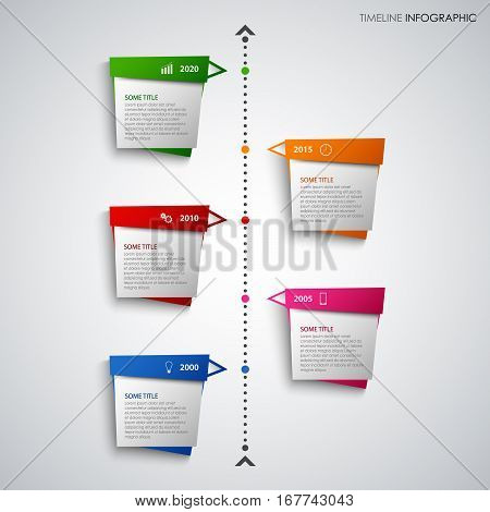 Time line info graphic with abstract colored design pointers vector eps 10