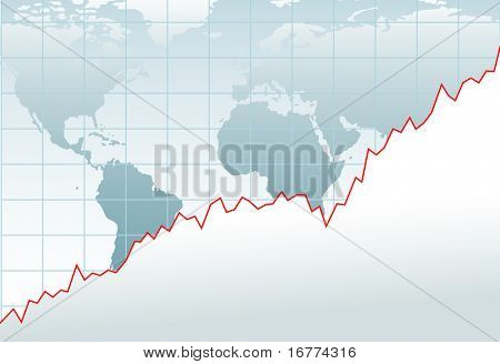 Chart of growth of global financial economy or company on a world map
