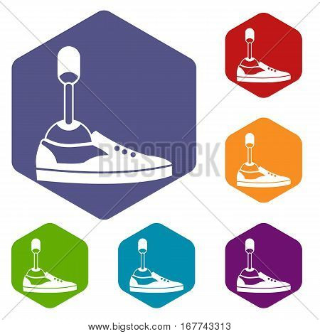 Prosthetic leg icons set rhombus in different colors isolated on white background