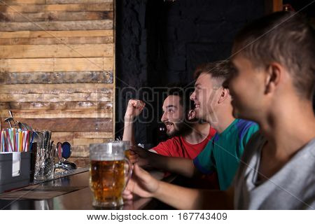 Cheerful friends with beer in sport bar