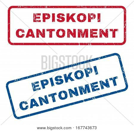 Episkopi Cantonment text rubber seal stamp watermarks. Vector style is blue and red ink tag inside rounded rectangular banner. Grunge design and unclean texture. Blue and red signs.