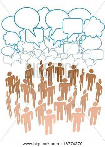 Company club or other group of people talk under a cloud of social media copy space speech bubbles