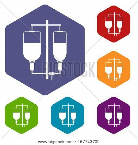 Intravenous infusion icons set rhombus in different colors isolated on white background