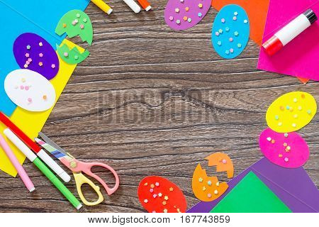 Easter Background Creative Craft. Easter Greeting Card Easter Eggs And Confetti On A Wooden Table. C