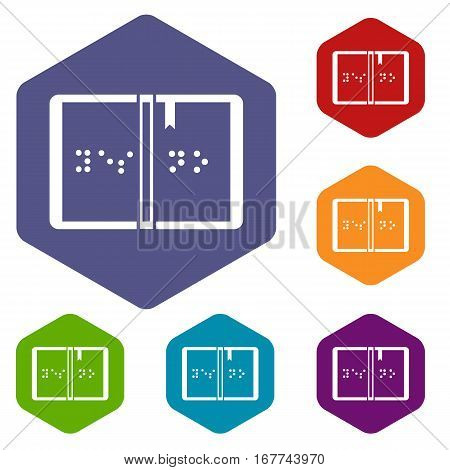 Braille icons set rhombus in different colors isolated on white background