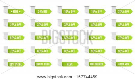 Green discount label set vector for design. 5 10 15 20 25 30 35 40 45 50 55 60 65 70 75 80 85 90 95 percent.