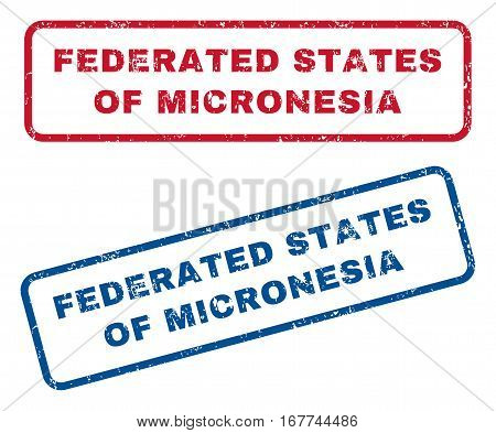 Federated States Of Micronesia text rubber seal stamp watermarks. Vector style is blue and red ink caption inside rounded rectangular banner. Grunge design and dust texture. Blue and red signs.