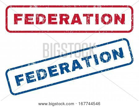 Federation text rubber seal stamp watermarks. Vector style is blue and red ink caption inside rounded rectangular shape. Grunge design and dust texture. Blue and red emblems.