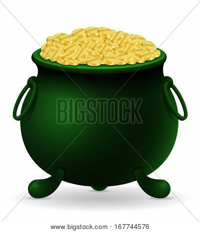 saint patrick's day cauldron with gold coins stock vector illustration isolated on white background