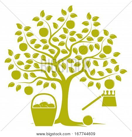 vector apple tree with basket of apples and fruit picker isolated on white background
