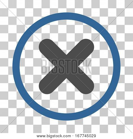 Cancel rounded icon. Vector illustration style is flat iconic bicolor symbol inside a circle, cobalt and gray colors, transparent background. Designed for web and software interfaces.