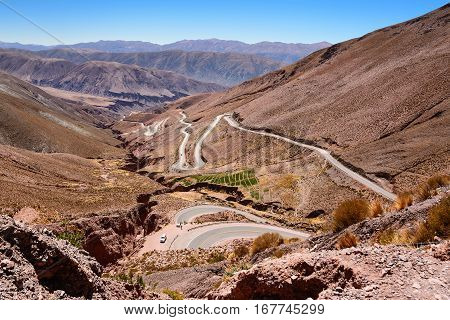 Curves of ruta 52 from Purmamarca to Salinas Grandes (Argentina)
