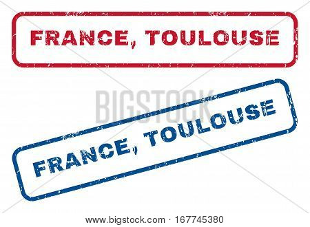 France, Toulouse text rubber seal stamp watermarks. Vector style is blue and red ink tag inside rounded rectangular shape. Grunge design and unclean texture. Blue and red signs.