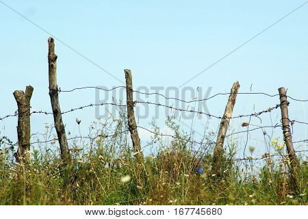 Old dilapidated fence with barbed wire against the sky