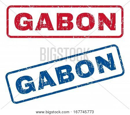 Gabon text rubber seal stamp watermarks. Vector style is blue and red ink tag inside rounded rectangular banner. Grunge design and unclean texture. Blue and red signs.