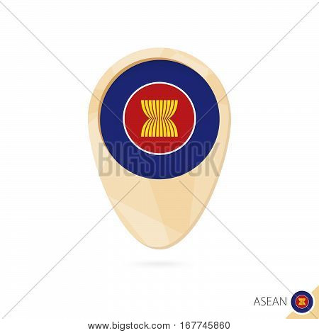 Map Pointer With Flag Of Asean. Orange Abstract Map Icon.