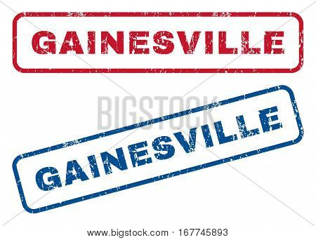 Gainesville text rubber seal stamp watermarks. Vector style is blue and red ink caption inside rounded rectangular banner. Grunge design and unclean texture. Blue and red emblems.