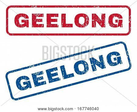 Geelong text rubber seal stamp watermarks. Vector style is blue and red ink tag inside rounded rectangular banner. Grunge design and scratched texture. Blue and red signs.