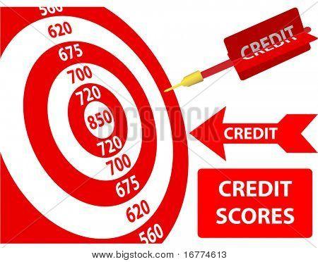 Bank-Kredit-Bericht-Score-Karte Ziel-Dart-Pfeil-Design-Elemente