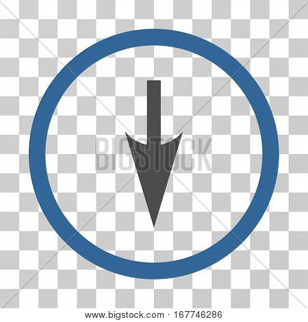 Sharp Down Arrow rounded icon. Vector illustration style is flat iconic bicolor symbol inside a circle, cobalt and gray colors, transparent background. Designed for web and software interfaces.