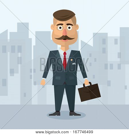 vector illustration of a flat in the style of businesman with a mustache in a gray suit strict business in an urban environment with a portfolio.