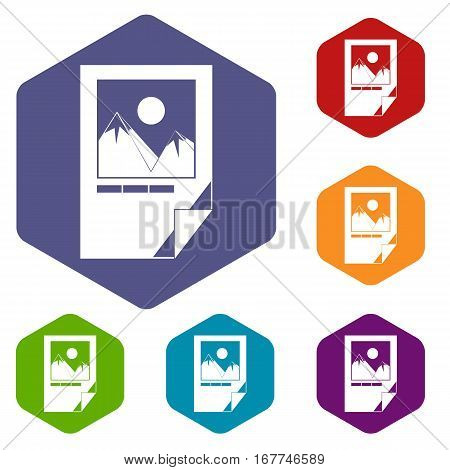 Tested ink paper with printer marks icons set rhombus in different colors isolated on white background
