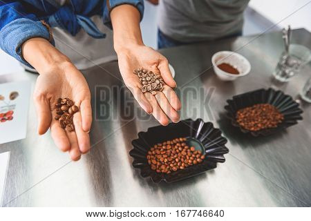 Woman is standing nearby metal table. She showing green and roasted coffee beans at hands