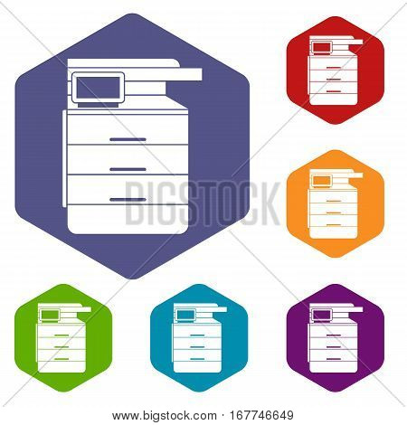 Multipurpose device, fax, copier and scanner icons set rhombus in different colors isolated on white background