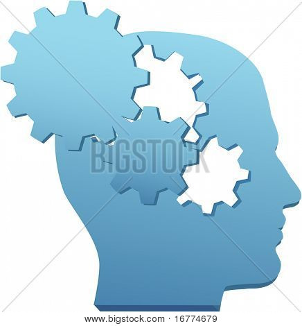 Person med uppfinningsrika sinne tänker teknik tankar i gear utskärningar