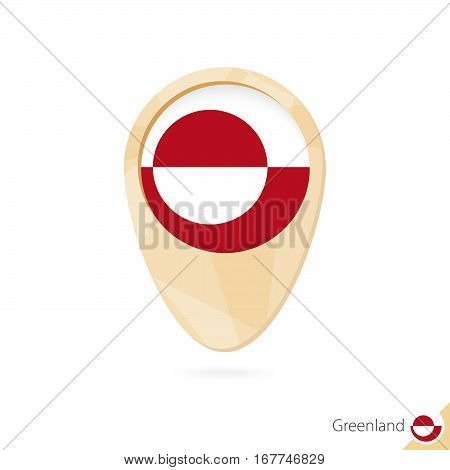 Map Pointer With Flag Of Greenland. Orange Abstract Map Icon.