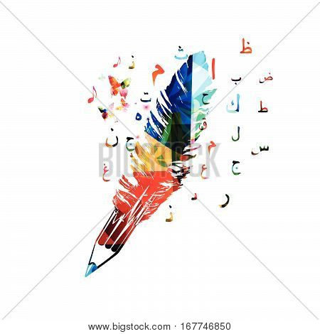 Colorful pencil and feather. Arabic islamic calligraphy symbols vector illustration. Arabic alphabet text design for books, articles, writing, blogging, education, website content writing, copywriting