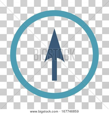 Arrow Axis Y rounded icon. Vector illustration style is flat iconic bicolor symbol inside a circle, cyan and blue colors, transparent background. Designed for web and software interfaces.