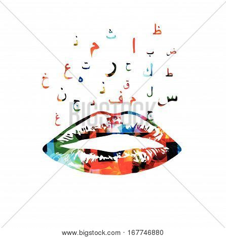 Colorful lips with arabic islamic calligraphy symbols vector illustration. Arabic alphabet text design for communication, blogging and chatting