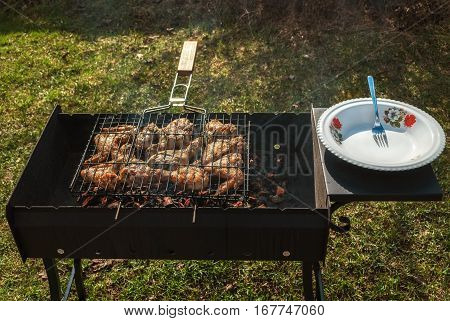 Chicken wings and drumstick fried on the grill on a brazier grill.