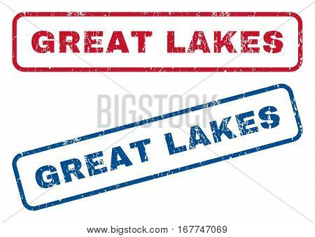 Great Lakes text rubber seal stamp watermarks. Vector style is blue and red ink tag inside rounded rectangular shape. Grunge design and dirty texture. Blue and red signs.