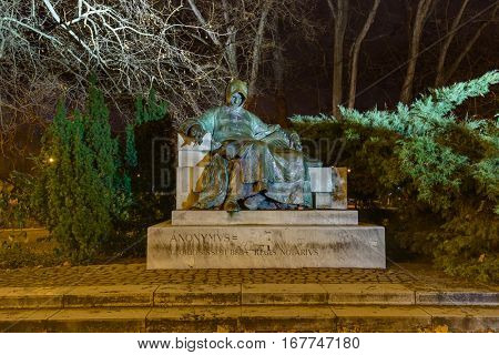 Anonymus statue in Vajdahunyad castle - Budapest Hungary - cityscape architecture background