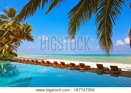 Loungers and pool on Maldives beach - nature vacation background