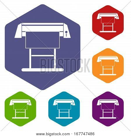 Large format inkjet printer icons set rhombus in different colors isolated on white background poster