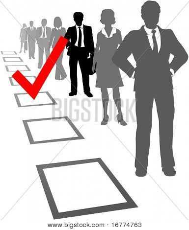 Check mark to find and choose the best company employee in selection box